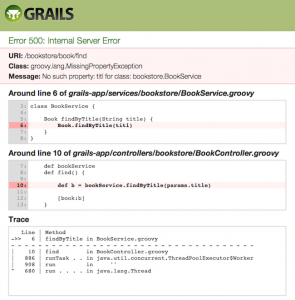 Grails 2.0.0 error view